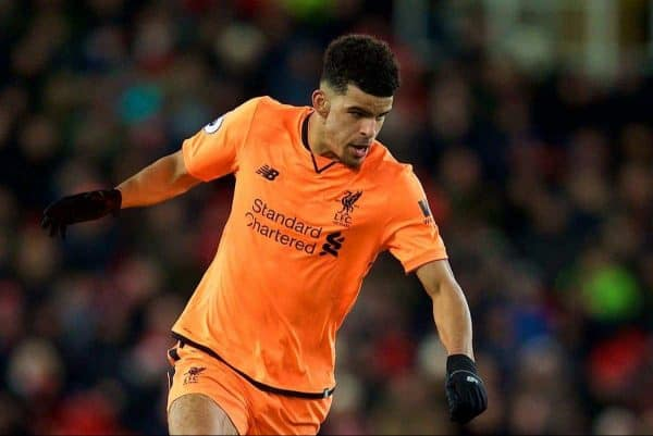 STOKE-ON-TRENT, ENGLAND - Wednesday, November 29, 2017: Liverpool's Dominic Solanke during the FA Premier League match between Stoke City and Liverpool at the Bet365 Stadium. (Pic by David Rawcliffe/Propaganda)