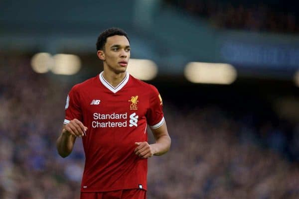 BRIGHTON AND HOVE, ENGLAND - Saturday, December 2, 2017: Liverpool's Trent Alexander-Arnold during the FA Premier League match between Brighton & Hove Albion FC and Liverpool FC at the American Express Community Stadium. (Pic by David Rawcliffe/Propaganda)