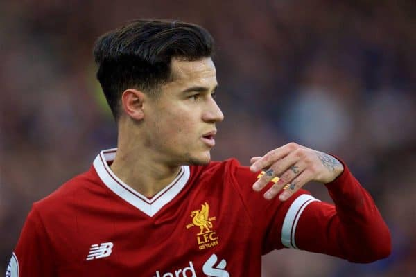BRIGHTON AND HOVE, ENGLAND - Saturday, December 2, 2017: Liverpool's Philippe Coutinho Correia during the FA Premier League match between Brighton & Hove Albion FC and Liverpool FC at the American Express Community Stadium. (Pic by David Rawcliffe/Propaganda)