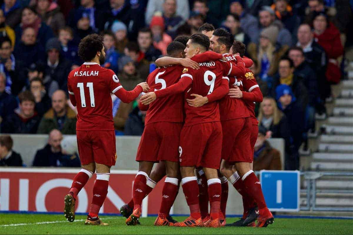 BRIGHTON AND HOVE, ENGLAND - Saturday, December 2, 2017: Liverpool's Emre Can celebrates scoring the first goal with team-mates during the FA Premier League match between Brighton & Hove Albion FC and Liverpool FC at the American Express Community Stadium. (Pic by David Rawcliffe/Propaganda)