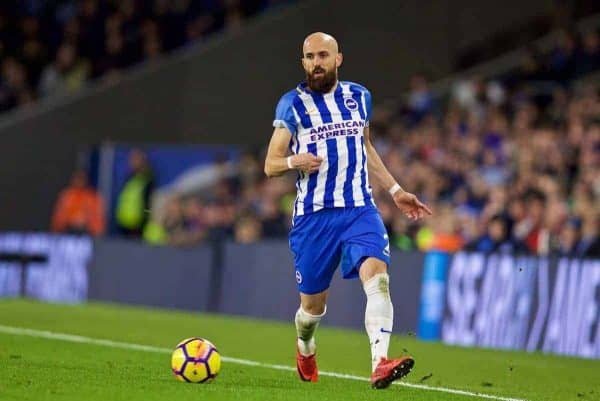 Brighton & Hove Albion's caption Bruno Saltor Grau during the FA Premier League match between Brighton & Hove Albion FC and Liverpool FC at the American Express Community Stadium. (Pic by David Rawcliffe/Propaganda)
