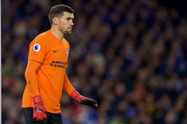 BRIGHTON AND HOVE, ENGLAND - Saturday, December 2, 2017: Brighton & Hove Albion's goalkeeper Mathew Ryan during the FA Premier League match between Brighton & Hove Albion FC and Liverpool FC at the American Express Community Stadium. (Pic by David Rawcliffe/Propaganda)