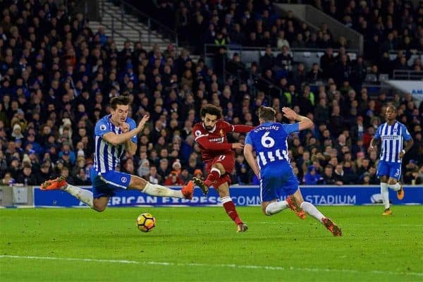 BRIGHTON AND HOVE, ENGLAND - Saturday, December 2, 2017: Liverpool's Mohamed Salah during the FA Premier League match between Brighton & Hove Albion FC and Liverpool FC at the American Express Community Stadium. (Pic by David Rawcliffe/Propaganda)
