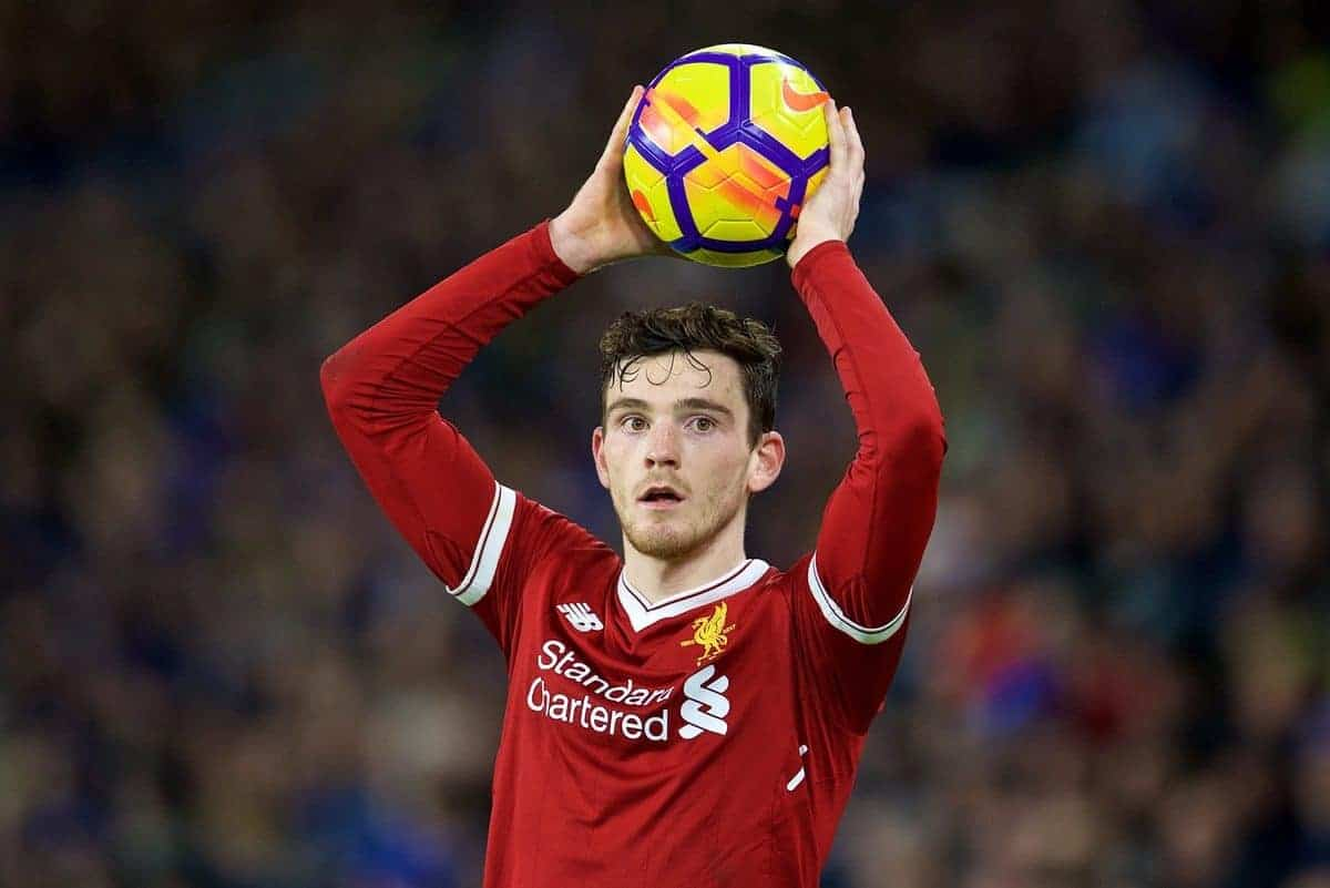 BRIGHTON AND HOVE, ENGLAND - Saturday, December 2, 2017: Liverpool's Andy Robertson takes a throw-in during the FA Premier League match between Brighton & Hove Albion FC and Liverpool FC at the American Express Community Stadium. (Pic by David Rawcliffe/Propaganda)