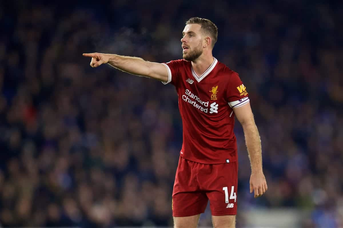 BRIGHTON AND HOVE, ENGLAND - Saturday, December 2, 2017: Liverpool's captain Jordan Henderson during the FA Premier League match between Brighton & Hove Albion FC and Liverpool FC at the American Express Community Stadium. (Pic by David Rawcliffe/Propaganda)