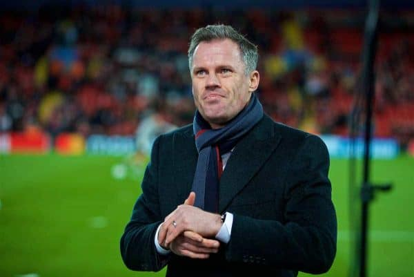 LIVERPOOL, ENGLAND - Wednesday, December 6, 2017: Former Liverpool player Jamie Carragher, working as a pundit, during the UEFA Champions League Group E match between Liverpool FC and FC Spartak Moscow at Anfield. (Pic by David Rawcliffe/Propaganda)