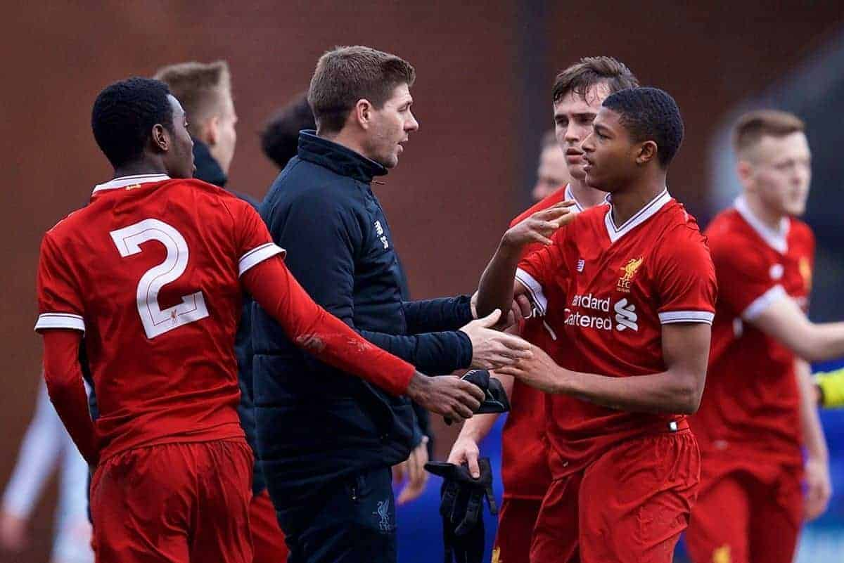 BIRKENHEAD, ENGLAND - Wednesday, December 6, 2017: Liverpool's Rhian Brewster is restrained by Under-18 manager Steven Gerrard and team-mates after the UEFA Youth League Group E match between Liverpool FC and FC Spartak Moscow at Prenton Park. (Pic by David Rawcliffe/Propaganda)