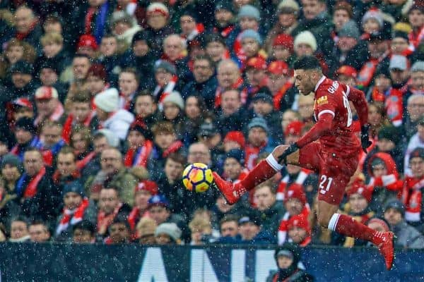 LIVERPOOL, ENGLAND - Sunday, December 10, 2017: Liverpool's Alex Oxlade-Chamberlain during the FA Premier League match between Liverpool and Everton, the 229th Merseyside Derby, at Anfield. (Pic by David Rawcliffe/Propaganda)