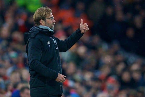 LIVERPOOL, ENGLAND - Sunday, December 10, 2017: Liverpool's manager J¸rgen Klopp reacts during the FA Premier League match between Liverpool and Everton, the 229th Merseyside Derby, at Anfield. (Pic by David Rawcliffe/Propaganda)