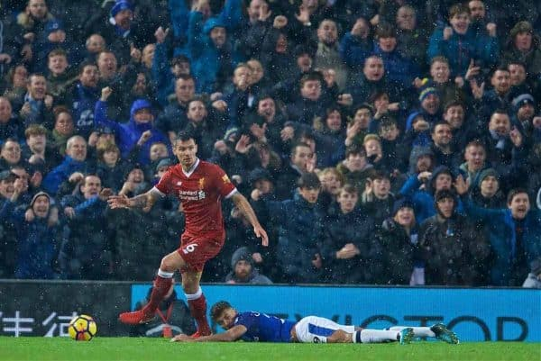 LIVERPOOL, ENGLAND - Sunday, December 10, 2017: Everton supporters appeal for a penalty as Dominic Calvert-Lewin is pushed over by Liverpool's Dejan Lovren during the FA Premier League match between Liverpool and Everton, the 229th Merseyside Derby, at Anfield. (Pic by David Rawcliffe/Propaganda)