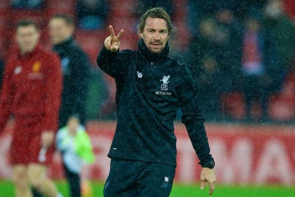LIVERPOOL, ENGLAND - Wednesday, December 13, 2017: Liverpool's head of fitness and conditioning Andreas Kornmayer during the pre-match warm-up before the FA Premier League match between Liverpool and West Bromwich Albion at Anfield. (Pic by David Rawcliffe/Propaganda)