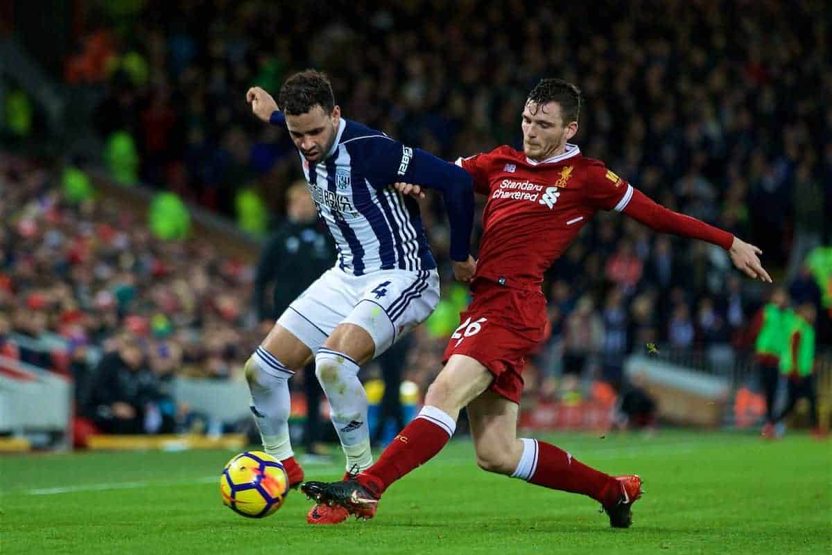 LIVERPOOL, ENGLAND - Wednesday, December 13, 2017: Liverpool's Andy Robertson and West Bromwich Albion's Hal Robson-Kanu during the FA Premier League match between Liverpool and West Bromwich Albion at Anfield. (Pic by David Rawcliffe/Propaganda)
