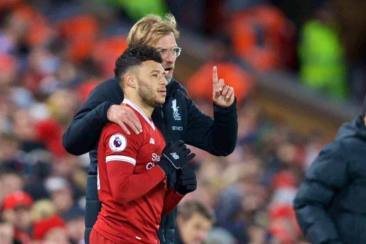LIVERPOOL, ENGLAND - Wednesday, December 13, 2017: Liverpool's manager J¸rgen Klopp prepares to bring on substitute Alex Oxlade-Chamberlain during the FA Premier League match between Liverpool and West Bromwich Albion at Anfield. (Pic by David Rawcliffe/Propaganda)