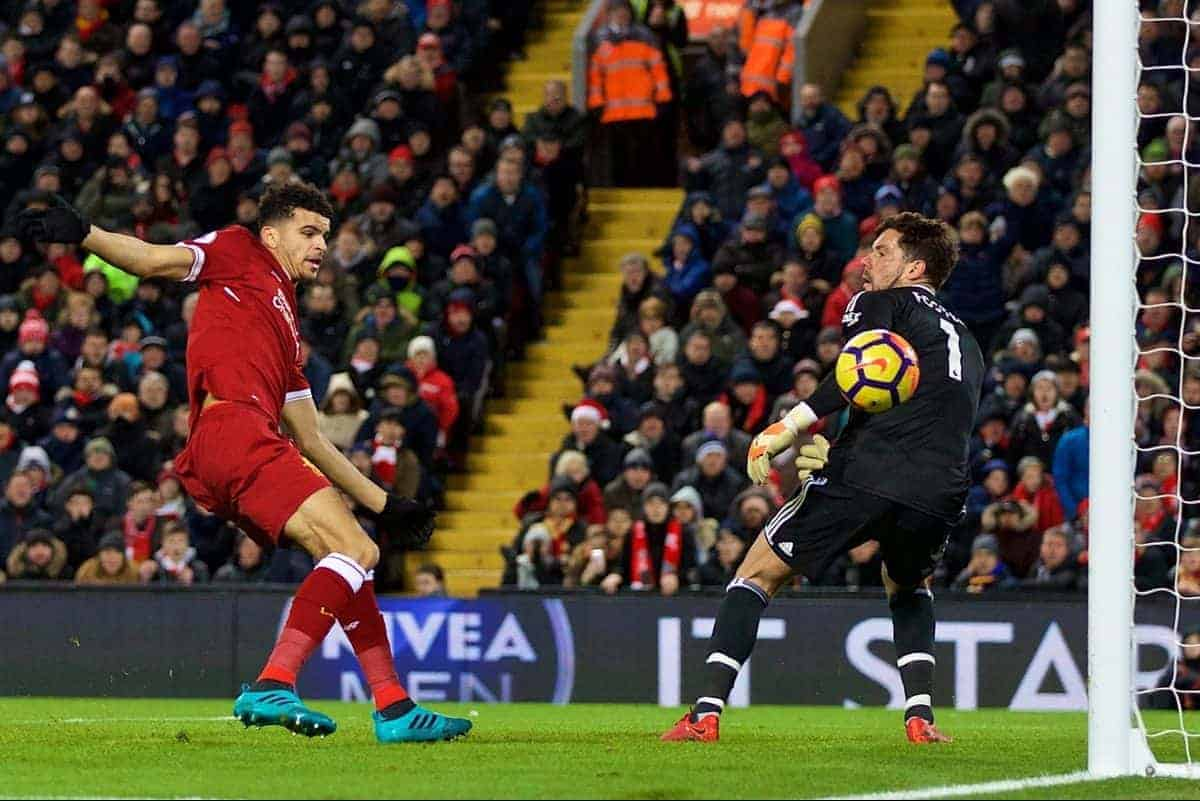 LIVERPOOL, ENGLAND - Wednesday, December 13, 2017: Liverpool's Dominic Solanke 'scores' but sees his goal ruled out for hand-ball during the FA Premier League match between Liverpool and West Bromwich Albion at Anfield. (Pic by David Rawcliffe/Propaganda)