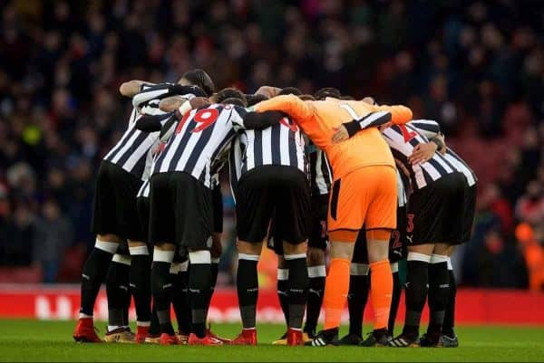 LONDON, ENGLAND - Friday, December 15, 2017: Newcastle United's players form a pre-match huddle during the FA Premier League match between Arsenal and Newcastle United at the Emirates Stadium. (Pic by David Rawcliffe/Propaganda)
