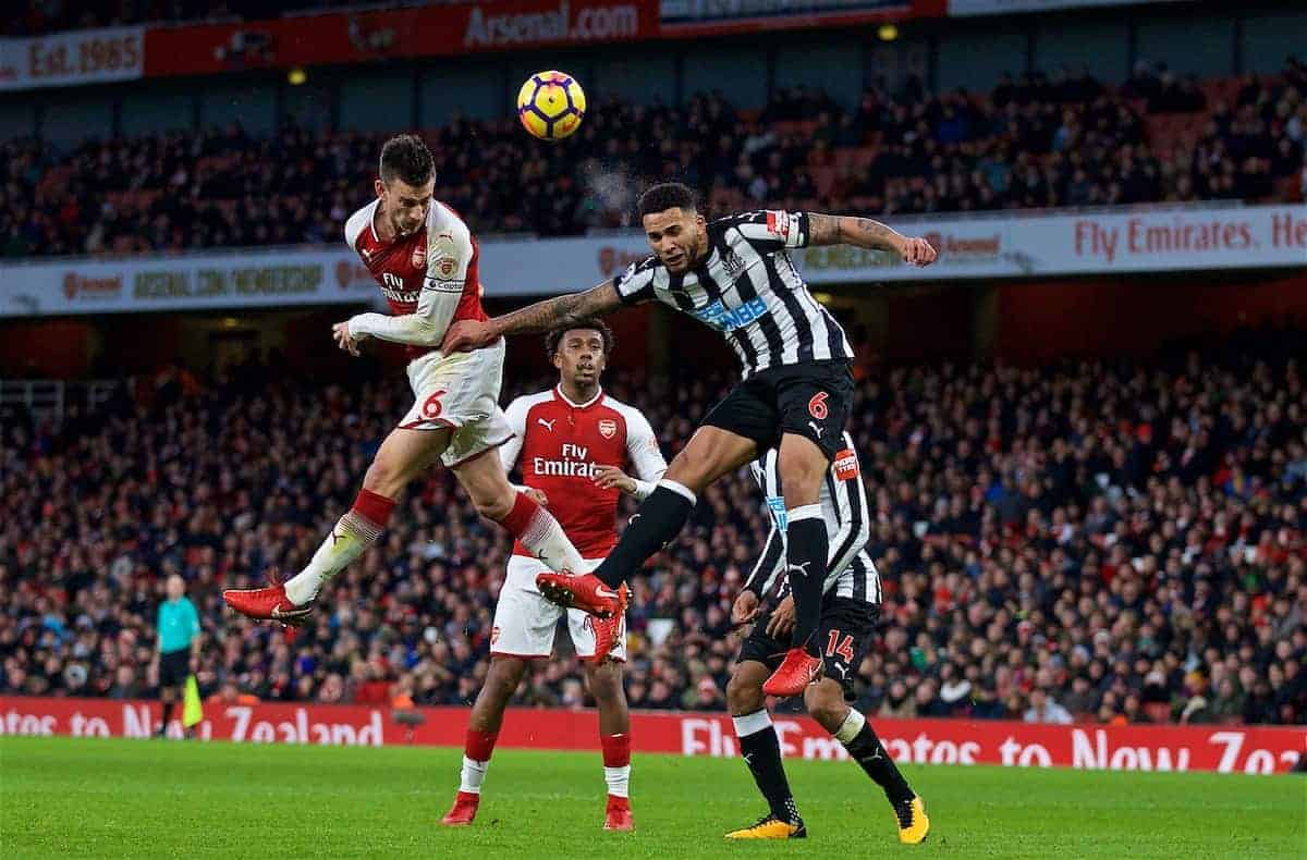 LONDON, ENGLAND - Friday, December 15, 2017: Arsenal's Laurent Koscielny and Newcastle United's captain Jamaal Lascelles during the FA Premier League match between Arsenal and Newcastle United at the Emirates Stadium. (Pic by David Rawcliffe/Propaganda)