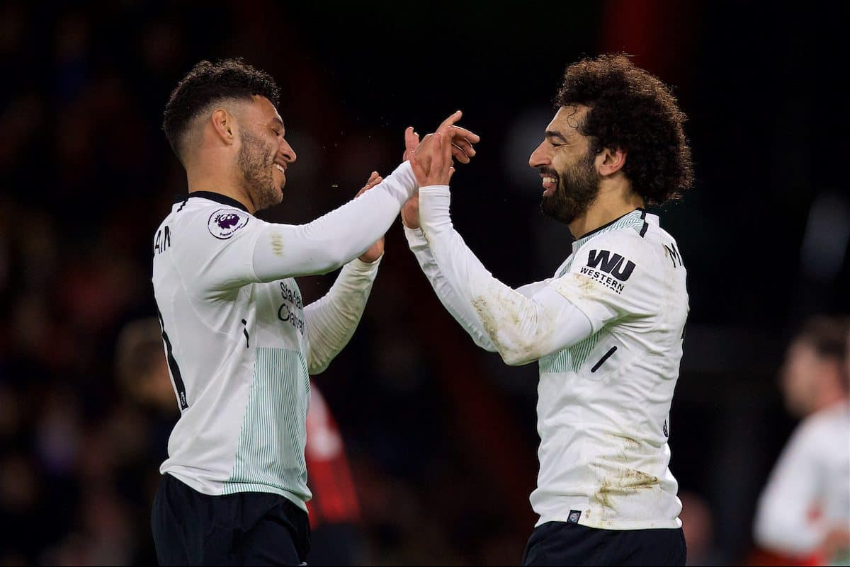 BOURNEMOUTH, ENGLAND - Sunday, December 17, 2017: Liverpool's Mohamed Salah celebrates scoring the third goal with team-mate Alex Oxlade-Chamberlain during the FA Premier League match between AFC Bournemouth and Liverpool at the Vitality Stadium. (Pic by David Rawcliffe/Propaganda)