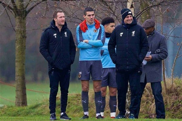 WOLVERHAMPTON, ENGLAND - Tuesday, December 19, 2017: Liverpool's Academy Director Alex Inglethorpe chats with former player Wolverhampton Wanderer's Conor Coady during an Under-18 FA Premier League match between Wolverhampton Wanderers and Liverpool FC at the Sir Jack Hayward Training Ground. (Pic by David Rawcliffe/Propaganda)