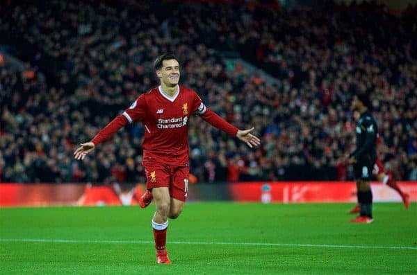 LIVERPOOL, ENGLAND - Boxing Day, Tuesday, December 26, 2017: Liverpool's Philippe Coutinho Correia celebrates scoring the first goal during the FA Premier League match between Liverpool and Swansea City at Anfield. (Pic by David Rawcliffe/Propaganda)