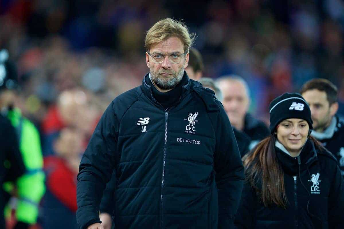 LIVERPOOL, ENGLAND - Boxing Day, Tuesday, December 26, 2017: Liverpool's manager J¸rgen Klopp before during the FA Premier League match between Liverpool and Swansea City at Anfield. (Pic by David Rawcliffe/Propaganda)