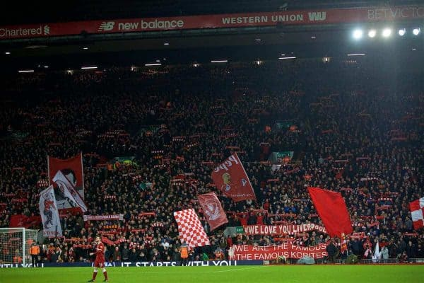 LIVERPOOL, ENGLAND - Boxing Day, Tuesday, December 26, 2017: Liverpool supporters on the Spion Kop before the FA Premier League match between Liverpool and Swansea City at Anfield. (Pic by David Rawcliffe/Propaganda)