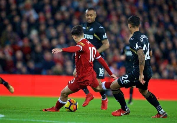 LIVERPOOL, ENGLAND - Boxing Day, Tuesday, December 26, 2017: Liverpool's Philippe Coutinho Correia scores the first goal during the FA Premier League match between Liverpool and Swansea City at Anfield. (Pic by David Rawcliffe/Propaganda)