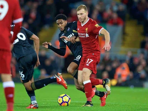 LIVERPOOL, ENGLAND - Boxing Day, Tuesday, December 26, 2017: Liverpool's Ragnar Klavan during the FA Premier League match between Liverpool and Swansea City at Anfield. (Pic by David Rawcliffe/Propaganda)