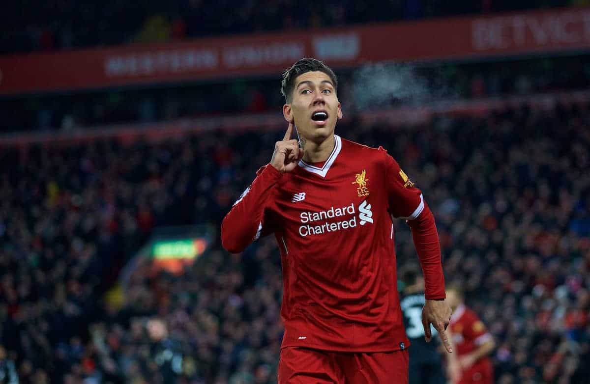 LIVERPOOL, ENGLAND - Boxing Day, Tuesday, December 26, 2017: Liverpool's Roberto Firmino celebrates scoring the second goal during the FA Premier League match between Liverpool and Swansea City at Anfield. (Pic by David Rawcliffe/Propaganda)