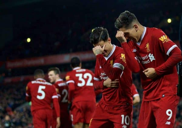 LIVERPOOL, ENGLAND - Boxing Day, Tuesday, December 26, 2017: Liverpool's Roberto Firmino celebrates scoring the second goal with team-mate Philippe Coutinho Correia during the FA Premier League match between Liverpool and Swansea City at Anfield. (Pic by David Rawcliffe/Propaganda)