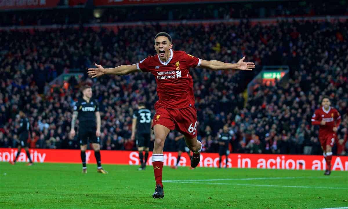 LIVERPOOL, ENGLAND - Boxing Day, Tuesday, December 26, 2017: Liverpool's Trent Alexander-Arnold celebrates scoring the third goal during the FA Premier League match between Liverpool and Swansea City at Anfield. (Pic by David Rawcliffe/Propaganda)