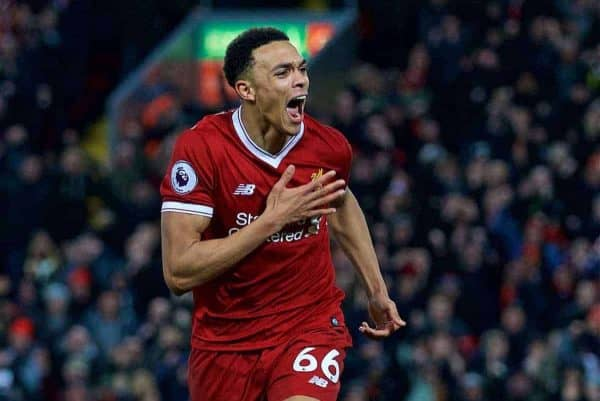 Liverpool's Trent Alexander-Arnold celebrates scoring the third goal during the FA Premier League match between Liverpool and Swansea City at Anfield. (Pic by David Rawcliffe/Propaganda)