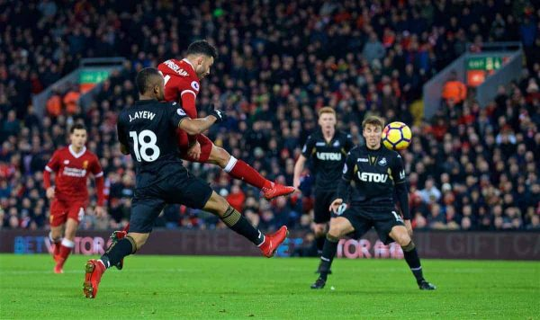 LIVERPOOL, ENGLAND - Boxing Day, Tuesday, December 26, 2017: Liverpool's Alex Oxlade-Chamberlain scores the fifth goal during the FA Premier League match between Liverpool and Swansea City at Anfield. (Pic by David Rawcliffe/Propaganda)