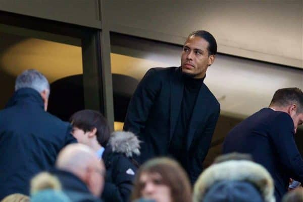 LIVERPOOL, ENGLAND - Saturday, December 30, 2017: Liverpool's new signing Virgil van Dijk, who joined from Southampton for £75m, a world record for a defender, before the FA Premier League match between Liverpool and Leicester City at Anfield. (Pic by David Rawcliffe/Propaganda)