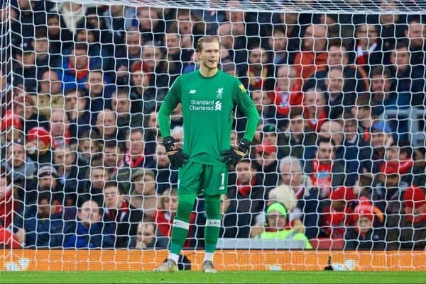LIVERPOOL, ENGLAND - Saturday, December 30, 2017: Liverpool's goalkeeper Loris Karius looks dejected as Leicester City score the opening goal during the FA Premier League match between Liverpool and Leicester City at Anfield. (Pic by David Rawcliffe/Propaganda)