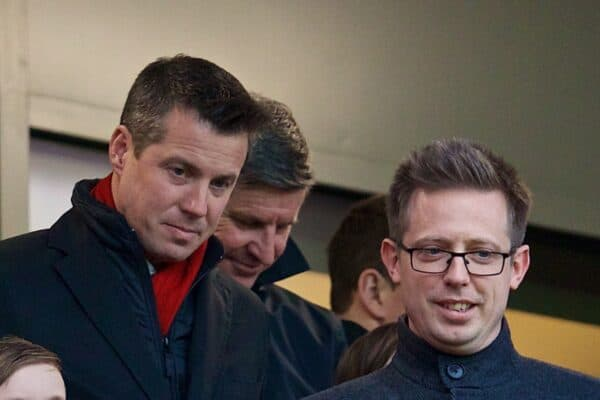 Liverpool's Director of Football Michael Edwards and Commercial Director Billy Hogan during the FA Premier League match between Liverpool and Leicester City at Anfield. (Pic by David Rawcliffe/Propaganda)