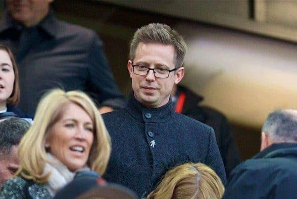 LIVERPOOL, ENGLAND - Saturday, December 30, 2017: Liverpool's Director of Football Michael Edwards during the FA Premier League match between Liverpool and Leicester City at Anfield. (Pic by David Rawcliffe/Propaganda)