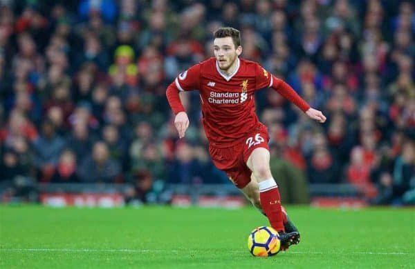 LIVERPOOL, ENGLAND - Saturday, December 30, 2017: Liverpool's Andy Robertson during the FA Premier League match between Liverpool and Leicester City at Anfield. (Pic by David Rawcliffe/Propaganda)