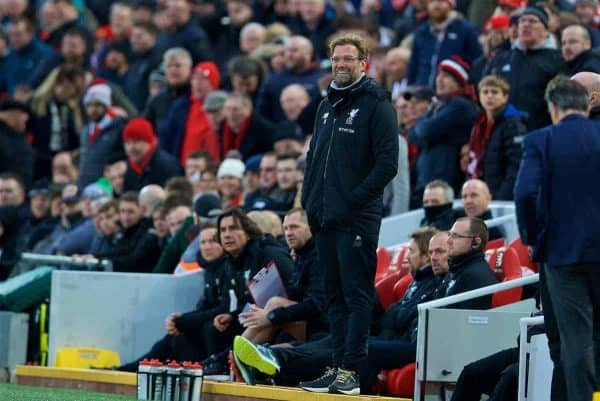 LIVERPOOL, ENGLAND - Saturday, December 30, 2017: Liverpool's manager Jürgen Klopp reacts with a smile as his side are denied a blatant penalty during the FA Premier League match between Liverpool and Leicester City at Anfield. (Pic by David Rawcliffe/Propaganda)