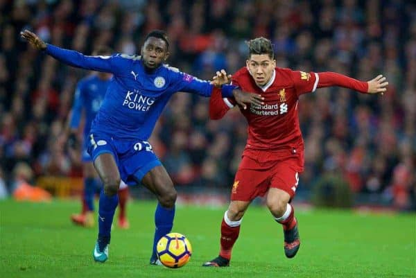 LIVERPOOL, ENGLAND - Saturday, December 30, 2017: Liverpool's Roberto Firmino and Leicester City's Wilfred Ndidi during the FA Premier League match between Liverpool and Leicester City at Anfield. (Pic by David Rawcliffe/Propaganda)