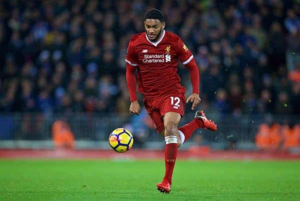 LIVERPOOL, ENGLAND - Saturday, December 30, 2017: Liverpool's Joe Gomez during the FA Premier League match between Liverpool and Leicester City at Anfield. (Pic by David Rawcliffe/Propaganda)