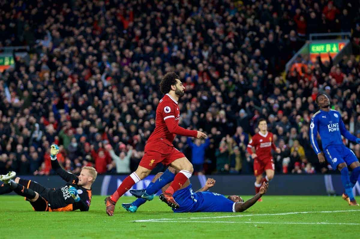 LIVERPOOL, ENGLAND - Saturday, December 30, 2017: Liverpool's Mohamed Salah celebrates scoring the second goal during the FA Premier League match between Liverpool and Leicester City at Anfield. (Pic by David Rawcliffe/Propaganda)