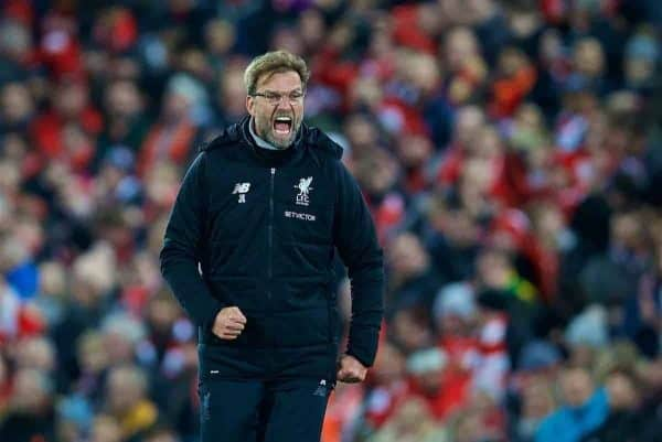 LIVERPOOL, ENGLAND - Saturday, December 30, 2017: Liverpool's manager J¸rgen Klopp celebrates after the 2-1 victory over Leicester City during the FA Premier League match between Liverpool and Leicester City at Anfield. (Pic by David Rawcliffe/Propaganda)