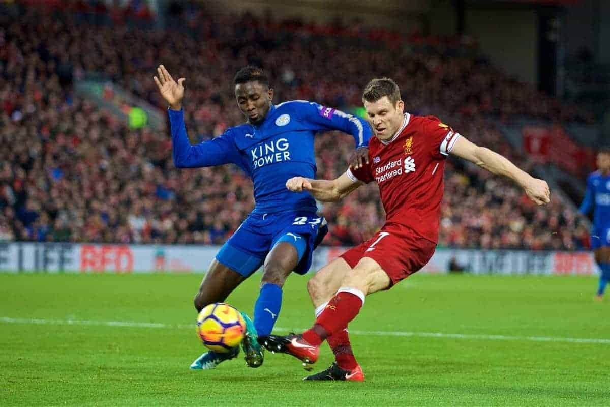 LIVERPOOL, ENGLAND - Saturday, December 30, 2017: Liverpool's James Milner and Leicester City's Wilfred Ndidi during the FA Premier League match between Liverpool and Leicester City at Anfield. (Pic by David Rawcliffe/Propaganda)