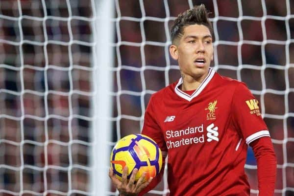 LIVERPOOL, ENGLAND - Saturday, December 30, 2017: Liverpool's Roberto Firmino during the FA Premier League match between Liverpool and Leicester City at Anfield. (Pic by David Rawcliffe/Propaganda)