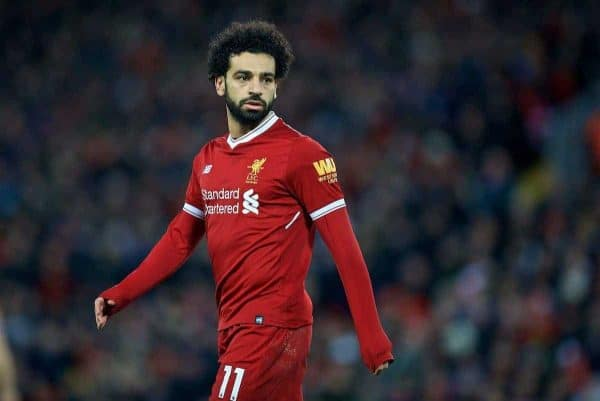 LIVERPOOL, ENGLAND - Saturday, December 30, 2017: Liverpool's Mohamed Salah during the FA Premier League match between Liverpool and Leicester City at Anfield. (Pic by David Rawcliffe/Propaganda)