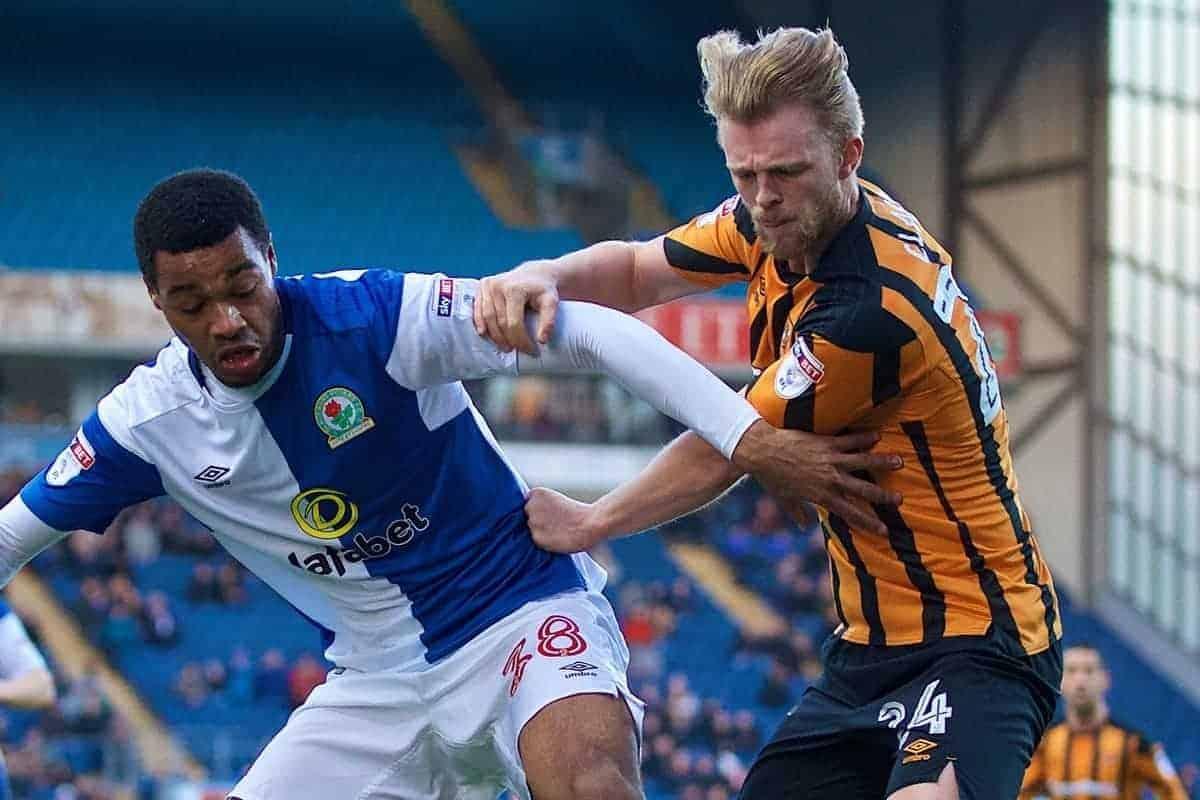 BLACKBURN, ENGLAND - Saturday, January 6, 2018: Blackburn Rovers' Joe Nuttall and Hull City's Max Clark during the FA Cup 3rd Round match between Blackburn Rovers FC and Hull City FC at Ewood Park. (Pic by David Rawcliffe/Propaganda)