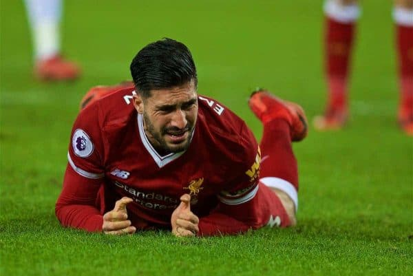 SWANSEA, WALES - Monday, January 22, 2018: Liverpool's captain Emre Can looks dejected after missing a chance during the FA Premier League match between Swansea City FC and Liverpool FC at the Liberty Stadium. (Pic by David Rawcliffe/Propaganda)