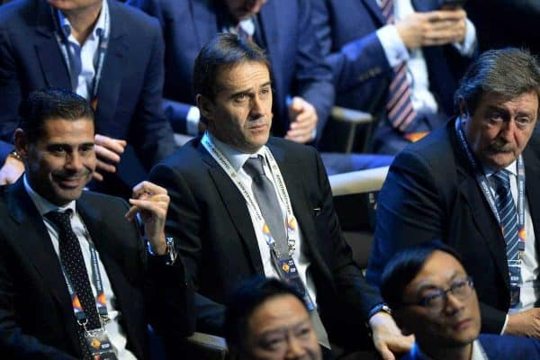 LAUSANNE, SWITZERLAND - Wednesday, January 24, 2018: Representatives from Spain, including head coach Julen Lopetegui (C), during the draw for the new UEFA Nations League tournament at the SwissTech Convention Centre. (Pic by Pool/UEFA/Propaganda)