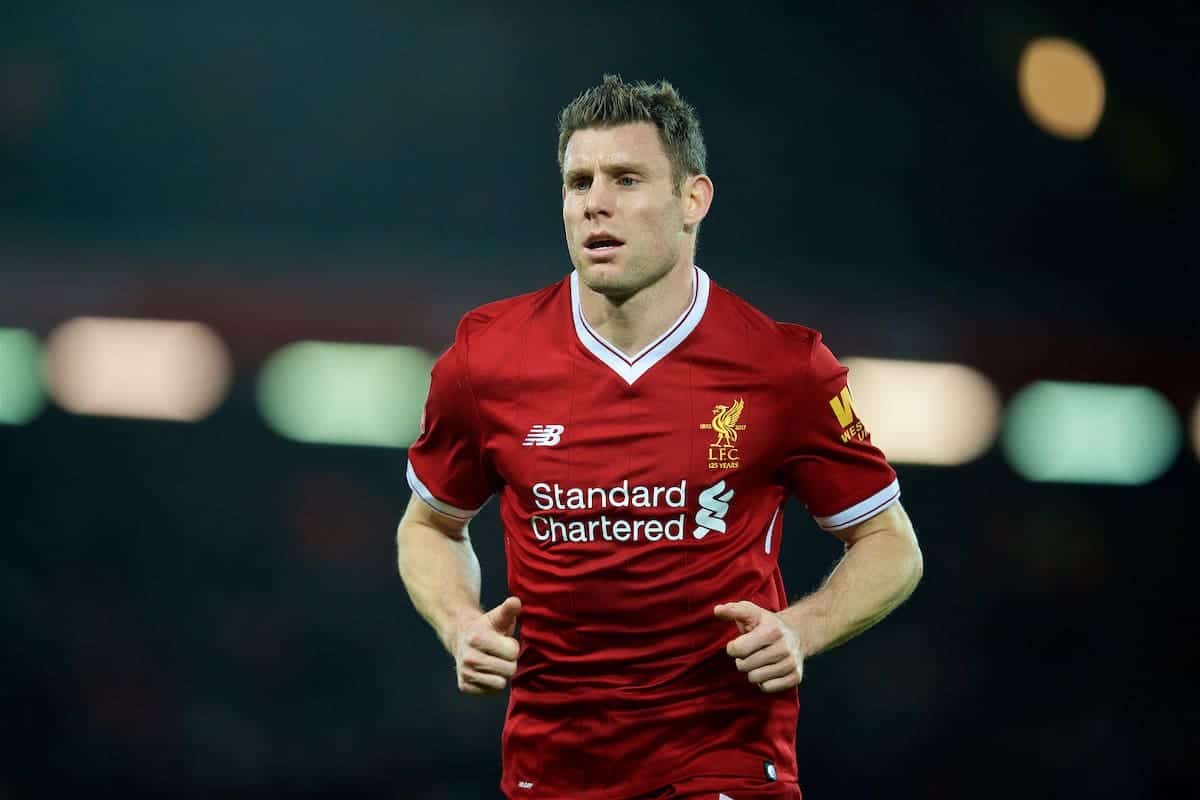 LIVERPOOL, ENGLAND - Sunday, January 14, 2018: Liverpool's James Milner during the FA Premier League match between Liverpool and Manchester City at Anfield. (Pic by David Rawcliffe/Propaganda)