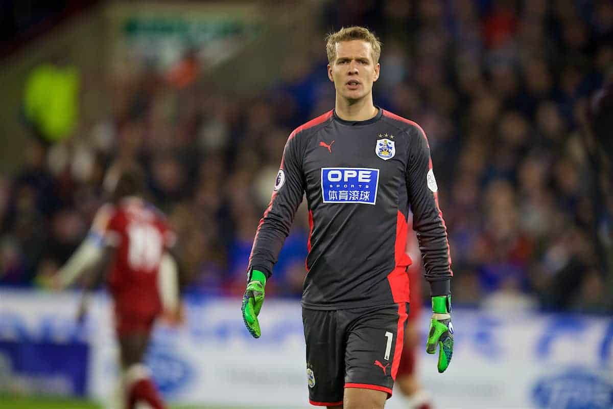 HUDDERSFIELD, ENGLAND - Tuesday, January 30, 2018: Huddersfield Town's goalkeeper Jonas Lössl during the FA Premier League match between Huddersfield Town FC and Liverpool FC at the John Smith's Stadium. (Pic by David Rawcliffe/Propaganda)